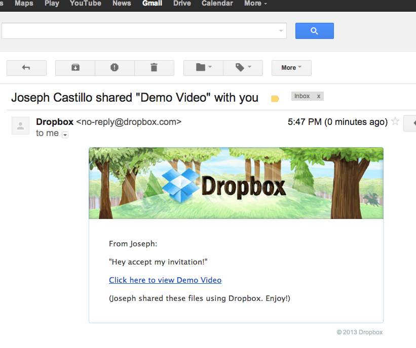 Accept invite to join Dropbox folder